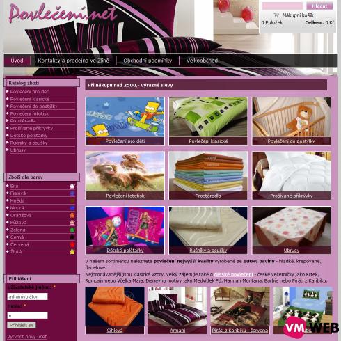 Povlečení.net homepage