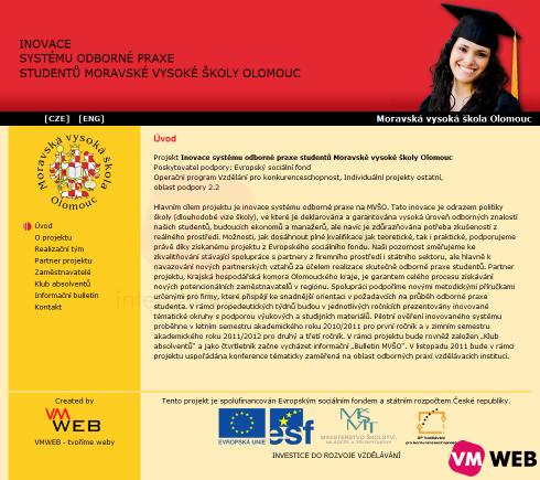 www.mvso-praxe.cz homepage
